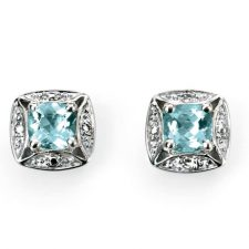 9ct White gold with Aquamarine and Diamonds
