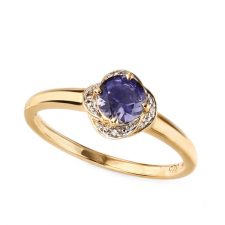 9ct yellow gold Iolite & Diamond Ring