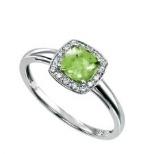 9ct White gold ring set with cushion cut Peridot and Diamond surround.